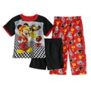 Disney's Mickey & The Roadster Racers Top, Shorts & Pants Pajama Set