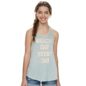 """Juniors' About A Girl """"Beach Day Every Day"""" Racerback Tank"""