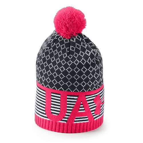 purchase cheap 02be7 d3f6f ... best price girls 7 16 under armour pom top beanie 44ad1 e4b46