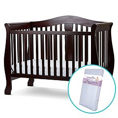 LA Baby Avalon 4-in-1 Convertible Crib & Foam Mattress Set