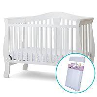 LA Baby Avalon 4-in-1 Convertible Crib & Innerspring Mattress Set