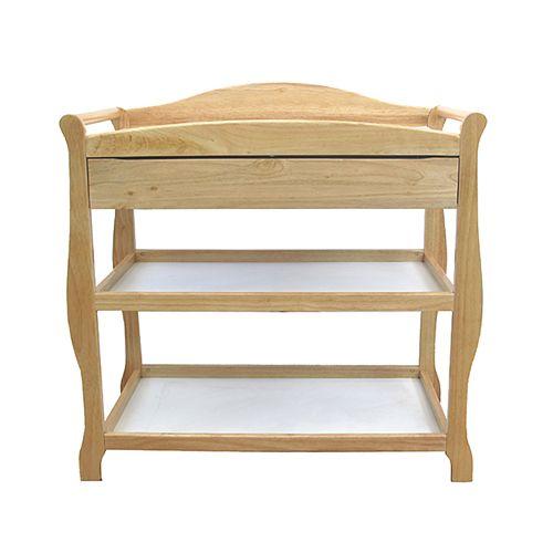 LA Baby 2 Shelf Wood Changing Table