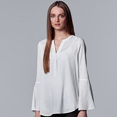 Women's Simply Vera Vera Wang Shadow-Stripe Bell Sleeve Top