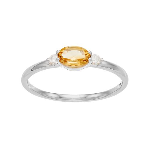 LC Lauren Conrad 10k White Gold Citrine & Diamond Accent Oval Ring