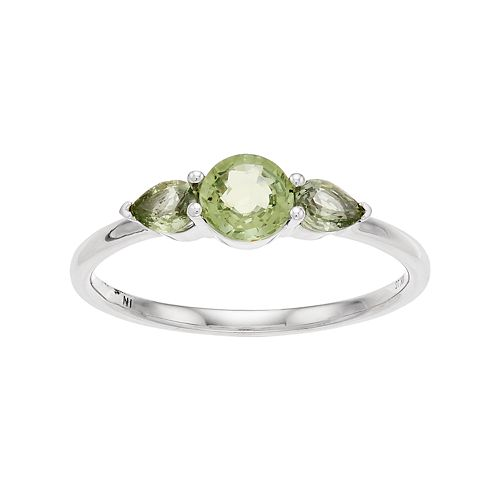 LC Lauren Conrad 10k White Gold Green Sapphire 3-Stone Ring