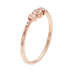 LC Lauren Conrad 10k Rose Gold Morganite & Diamond Accent 3-Stone Ring