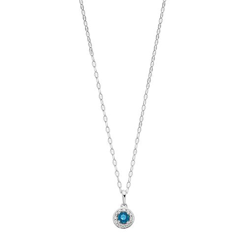 LC Lauren Conrad 10k White Gold Blue Topaz & Diamond Accent Halo Pendant Necklace