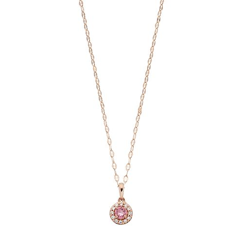 LC Lauren Conrad 10k Rose Gold Pink Tourmaline & Diamond Accent Halo Pendant Necklace