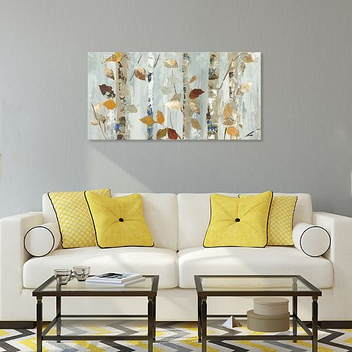 Artissimo Designs Leaves On Birch Canvas Wall Art