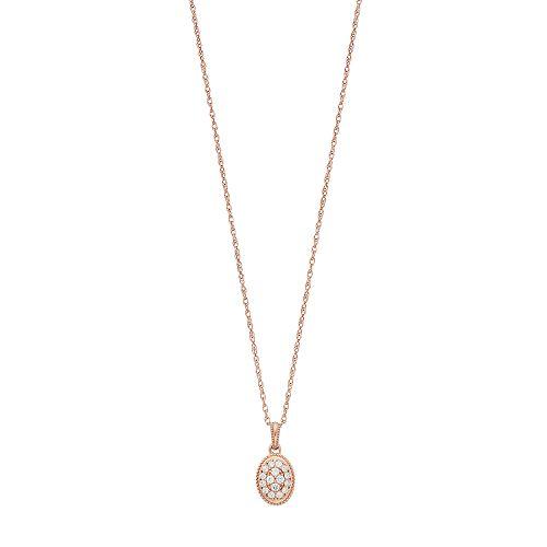 LC Lauren Conrad 10k Rose Gold 1/7 Carat T.W. Diamond Oval Pendant