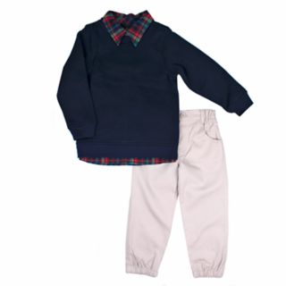 Toddler Boy Little Rebels Plaid Mock Shirt Sweater & Pants Set