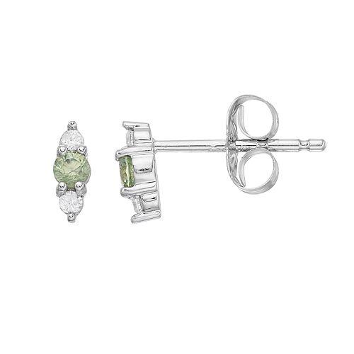 LC Lauren Conrad 10k White Gold Green Sapphire & Diamond Accent 3-Stone Stud Earrings