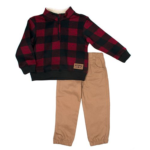 Toddler Boy Little Rebels Buffalo Checked Sherpa Pullover Sweater & Pants Set