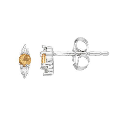 LC Lauren Conrad 10k White Gold Citrine & Diamond Accent 3-Stone Stud Earrings