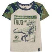 "Boys 4-7x Jurassic World: Fallen Kingdom ""Tyrannosaurus Rex TR03"" Dinosaur Camo Raglan Graphic Tee"