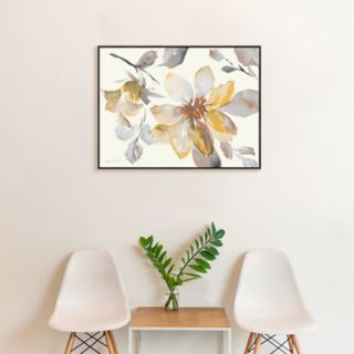 Artissimo Designs Clematis In Neutral Shades Framed Canvas Wall Art