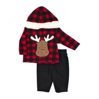 Baby Boy Little Rebels Moose Polar Fleece Zip Hoodie & Pants Set
