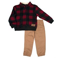 Baby Boy Little Rebels Buffalo Checked Sherpa Pullover Sweater & Pants Set