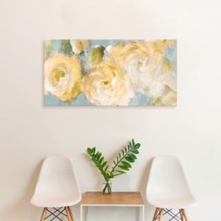 Artissimo Designs Yellow Blooms On Blue Canvas Wall Art