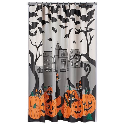 Celebrate Halloween Together Scenic Cat Shower Curtain