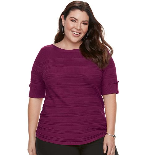 Plus Size Apt. 9® Textured Ruched Boatneck Sweater