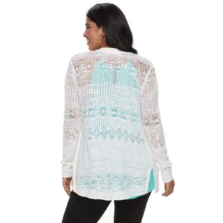 Plus Size Candie's® Pointelle Cardigan