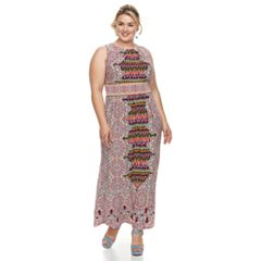 Plus Size Suite 7 Print Pleated Maxi