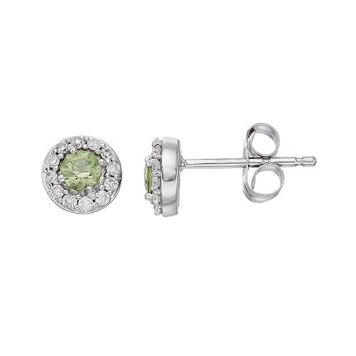 LC Lauren Conrad 10k White Gold Green Sapphire & 1/10 Carat T.W. Diamond Halo Stud Earrings