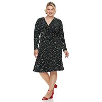 Plus Size Suite 7 Polka-Dot Fit & Flare Dress