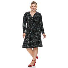 Plus Size Suite 7 Polka-Dot Fit & Flare Dress