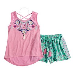 Girls 7-16 Self Esteem Graphic Print Tank Top & Patterned Shorts Set with Necklace