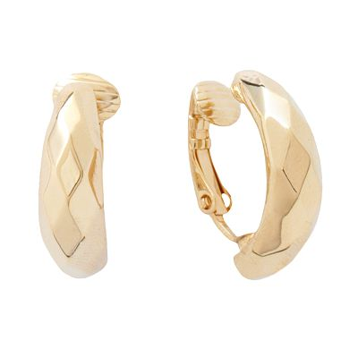Trifari Gold Tone Hoop Clip-On Earrings