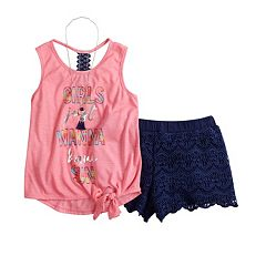 Girls 7-16 Self Esteem Tank Top & Crochet Shorts Set with Necklace