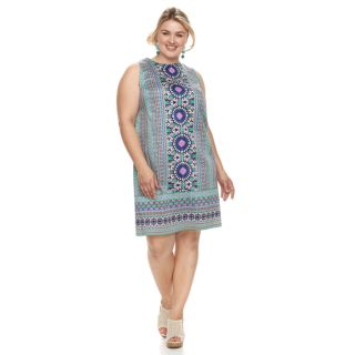 Plus Size Suite 7 Print Sateen Shift Dress