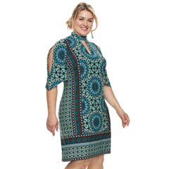 Plus Size Suite 7 Print Open-Sleeves Shift Dress