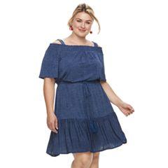 Plus Size Suite 7 Off-The-Shoulder Blouson Shift Dress