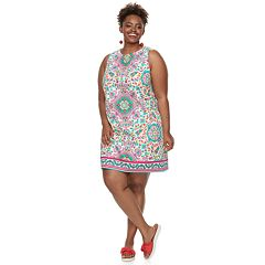 Plus Size Suite 7 Print Shift Dress