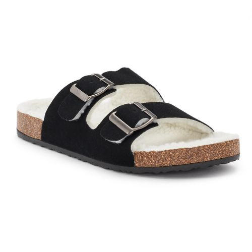 Women's Olivia Miller ... Sherpa-Lined Double Buckle Cork Sandals