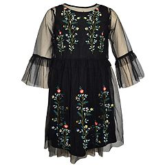 Girls 4-6x Blueberi Boulevard Embroidered Tulle Dress