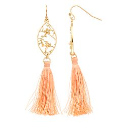 LC Lauren Conrad Filigree Flower Nickel Free Tassel Drop Earrings
