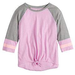 Girls 7-16 SO® Tie-Front Raglan Varsity Tee