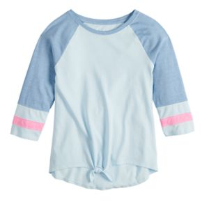 Girls 7-16 SO® Tie-Front Raglan Varsity Tee