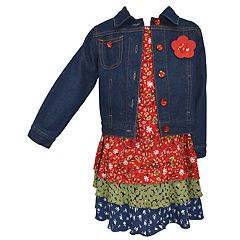 Girls 4-6x Blueberi Boulevard Tiered Floral Dress & Denim Jacket Set