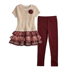 Girls 4-6x Blueberi Boulevard Tiered Sweaterdress & Leggings Set