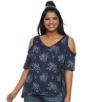 Juniors' Plus Mudd® Cold-Shoulder Top