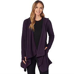 Plus Size Cuddl Duds Fleece Hooded Wrap Cardigan