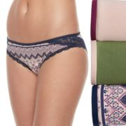 Juniors' Wallflower 3-Pack Emma Lace Hipster Panty JC4007WFB
