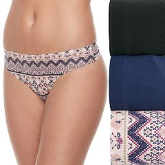 Juniors' Wallflower 3-Pack Ruby Tribal Thong Panties JC4008WFA
