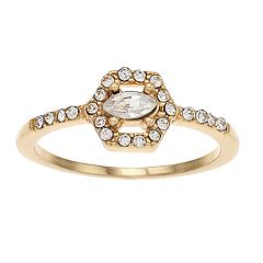 LC Lauren Conrad Simulated Crystal Hexagon Halo Ring