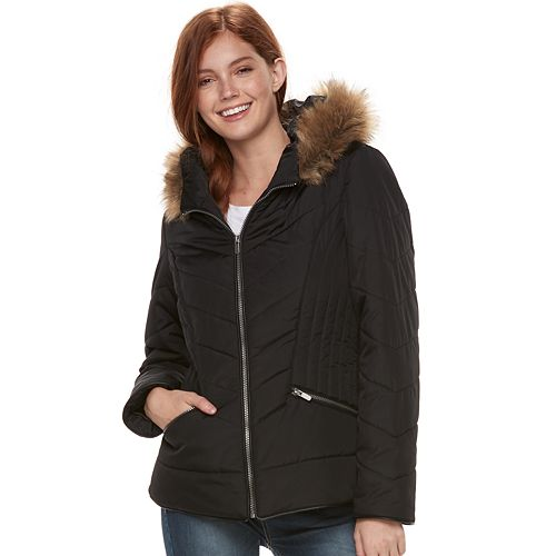 Juniors' Pink Envelope Quilted Short Puffer Jacket